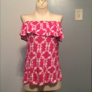XS Crown & Ivy, pink white strapless tube top NWOT
